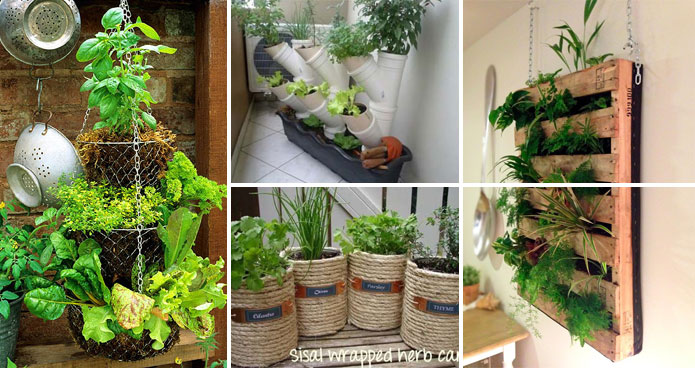 container herb garden. low-budget and easy container ideas for herb garden