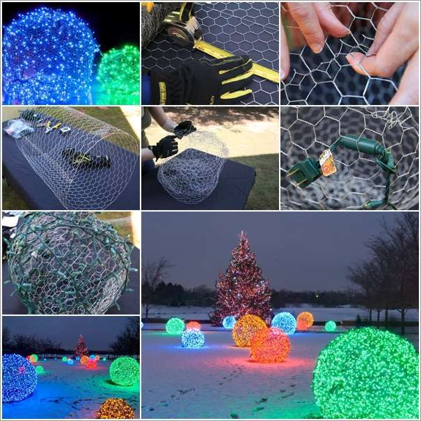 decorate your christmas homes outdoor with chicken wire light balls - Cheapest Christmas Outdoor Lights Decorations