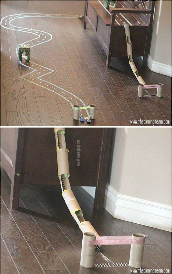 diy toy car race track made out of toilet paper tubes