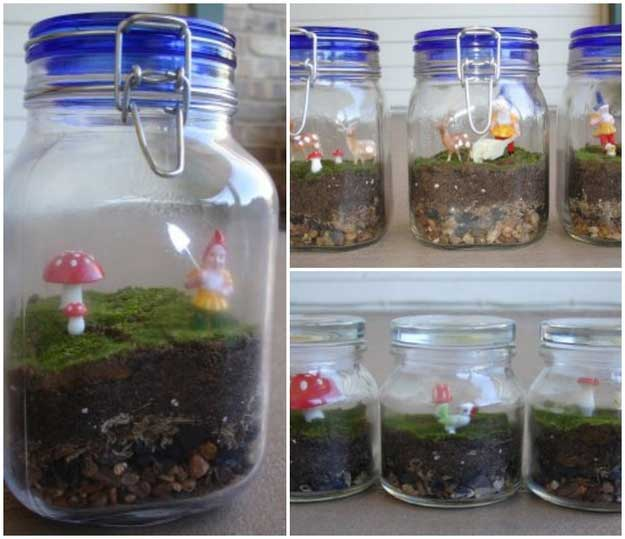 1 homemade moss terrarium its a jar full of adorable gnomes