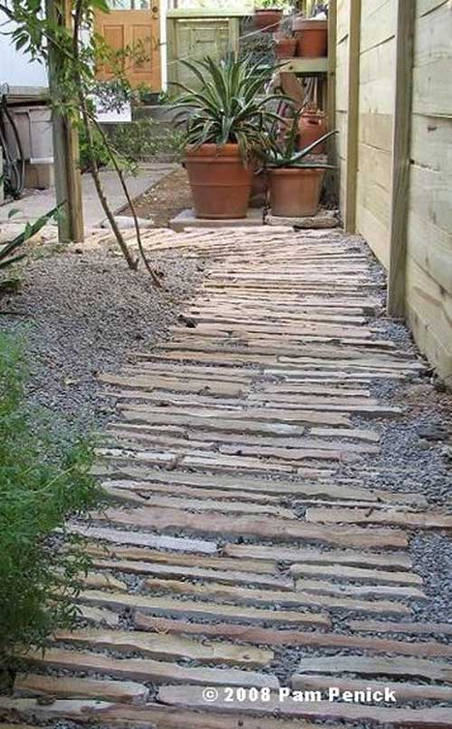Set Horizontal Stone Strips In Gravel Walkway