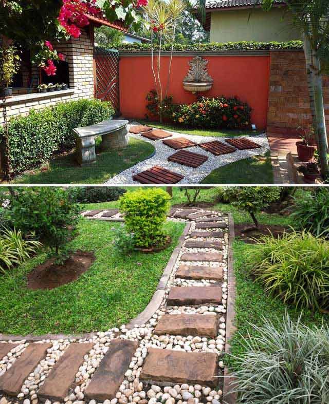 Stepping stone walkway designs luxurious stepping stone Round wooden stepping stones