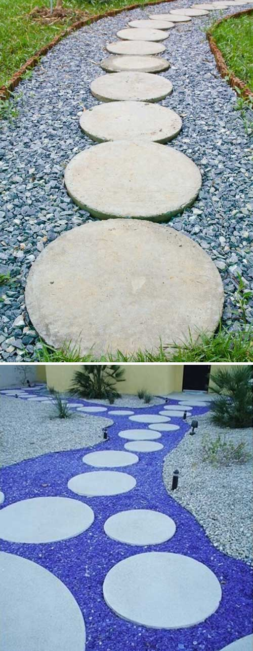 Use Recycled Blue Glass Or Concrete Crush As Filler Between Round Stepping  Stones.