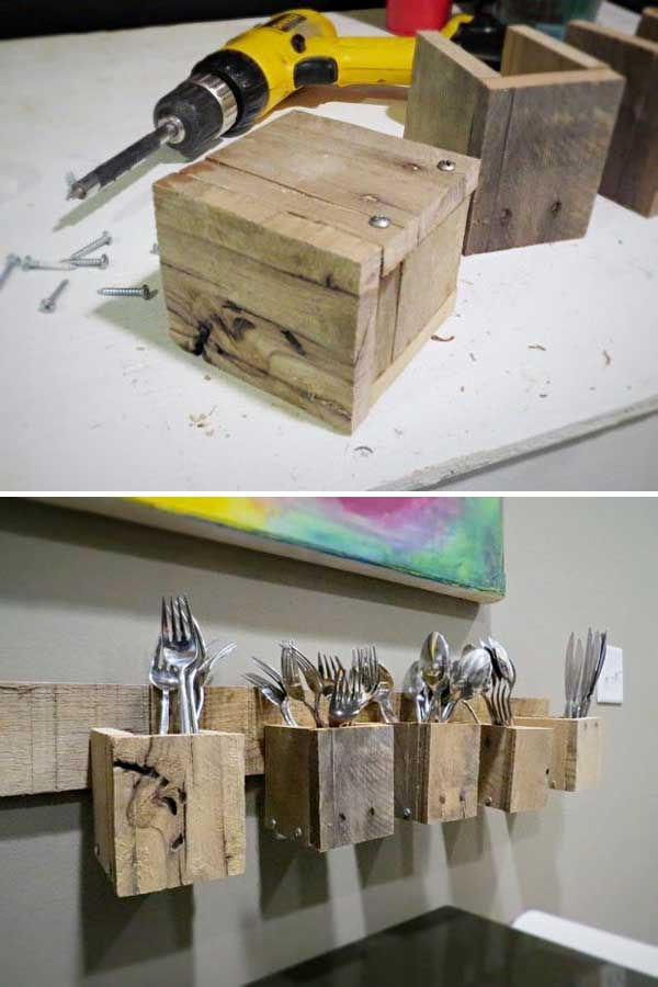 Pallet Wood Silverware Holder Tutorial Instructables