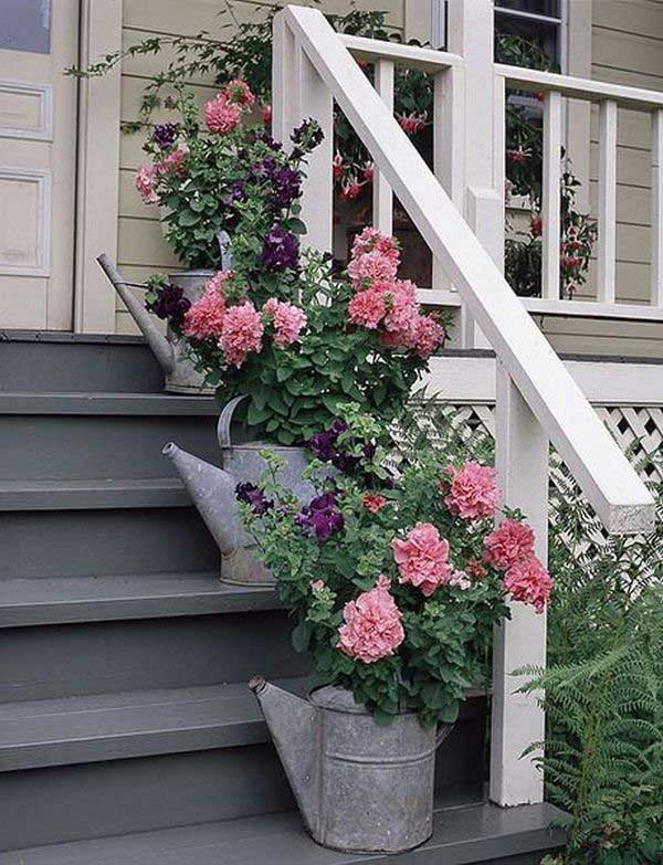Two Ceramics Flower Planters In The Front Porch Have Ancient Look