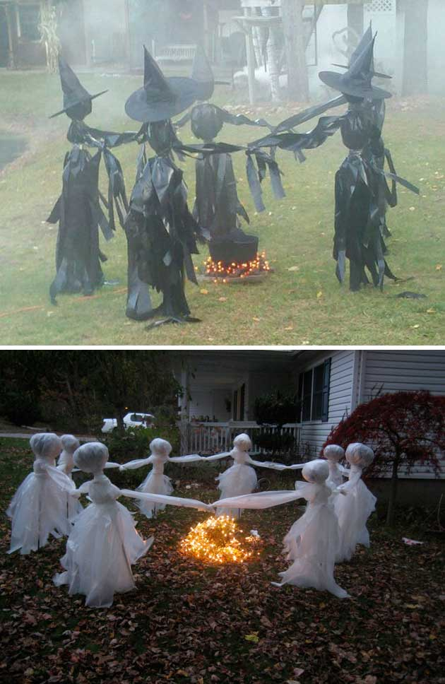 Top 20 ideas turn trash bags into creepy halloween for Decorations for halloween to make at home