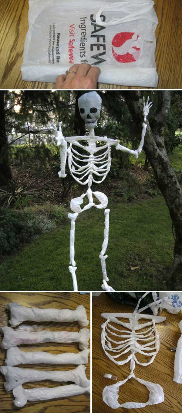 Top 20 ideas turn trash bags into creepy halloween for Bag of bones halloween decoration