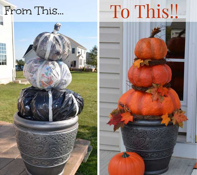 halloween pumpkins from trash bags - Halloween Decorations Images