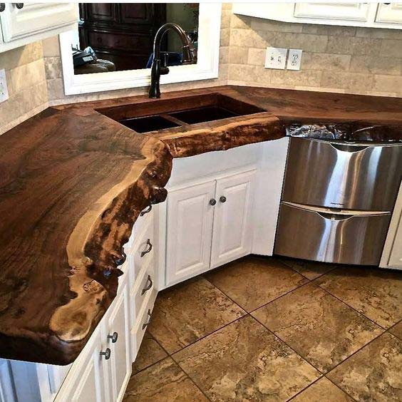 Top 20 cool decorating ideas with live edge wood for Live wood countertops