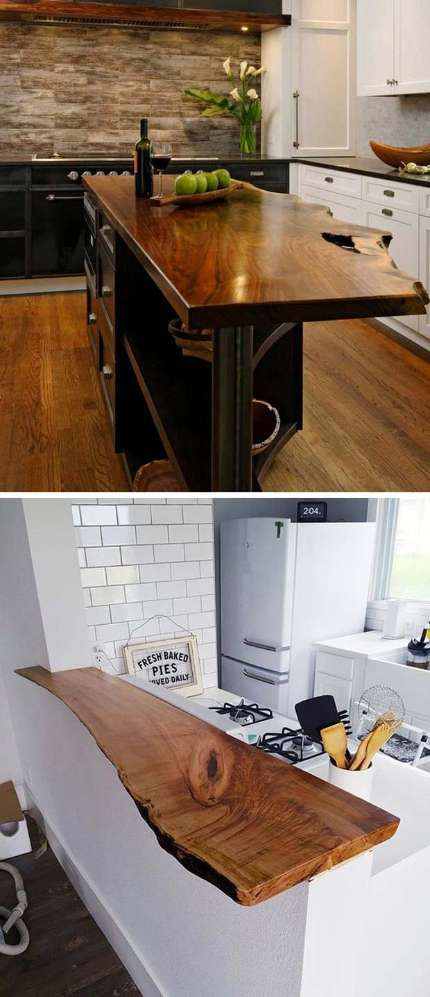 Top 20 cool decorating ideas with live edge wood for Live edge kitchen island