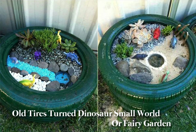 Old tire turned dinosaur small world or a fairy garden