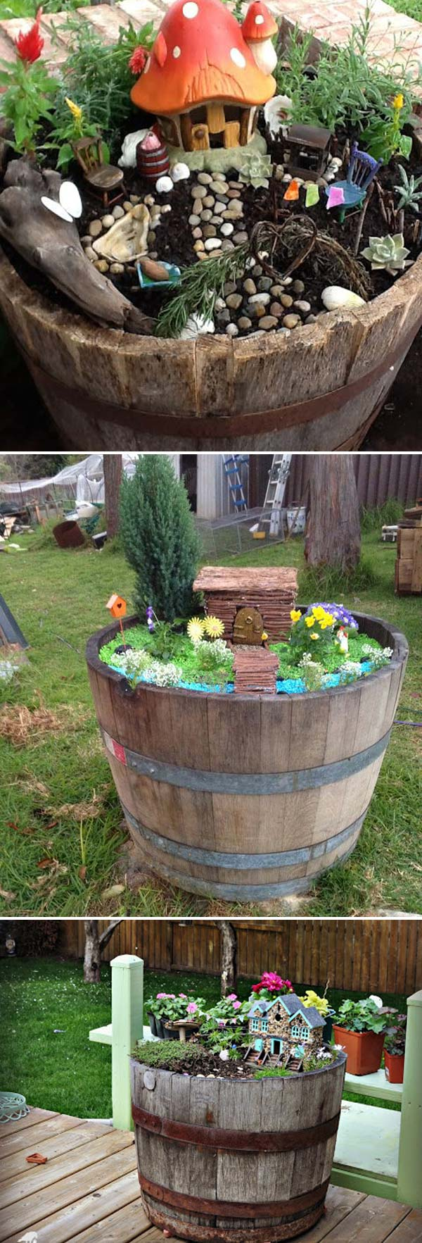 wine barrels can be turned to beautiful fairy garden