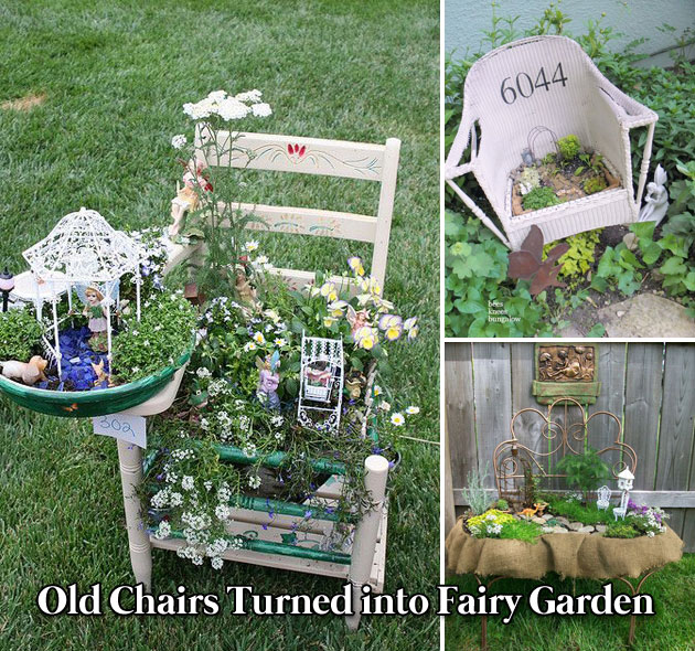 Old Chairs Fairy Garden