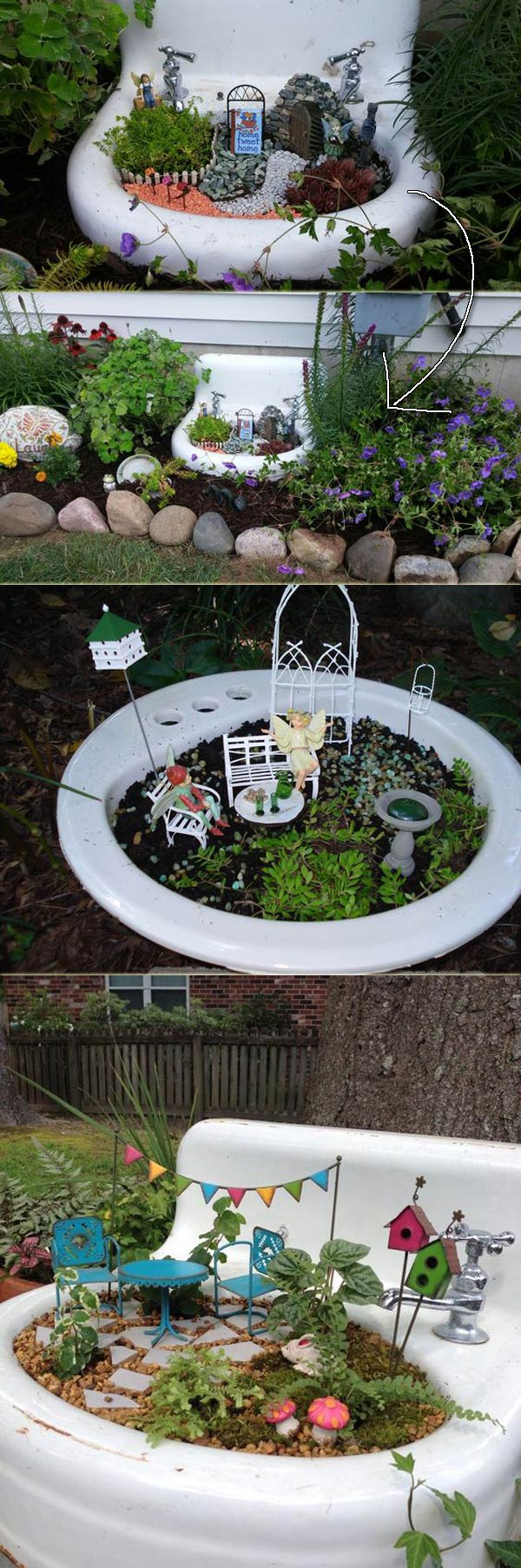 17 stunning fairy gardens created by recycled things for Fairytale inspired home decor