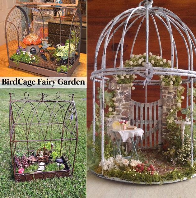 Design a Fairy Garden in Terrarium Style Inside a Birdcage