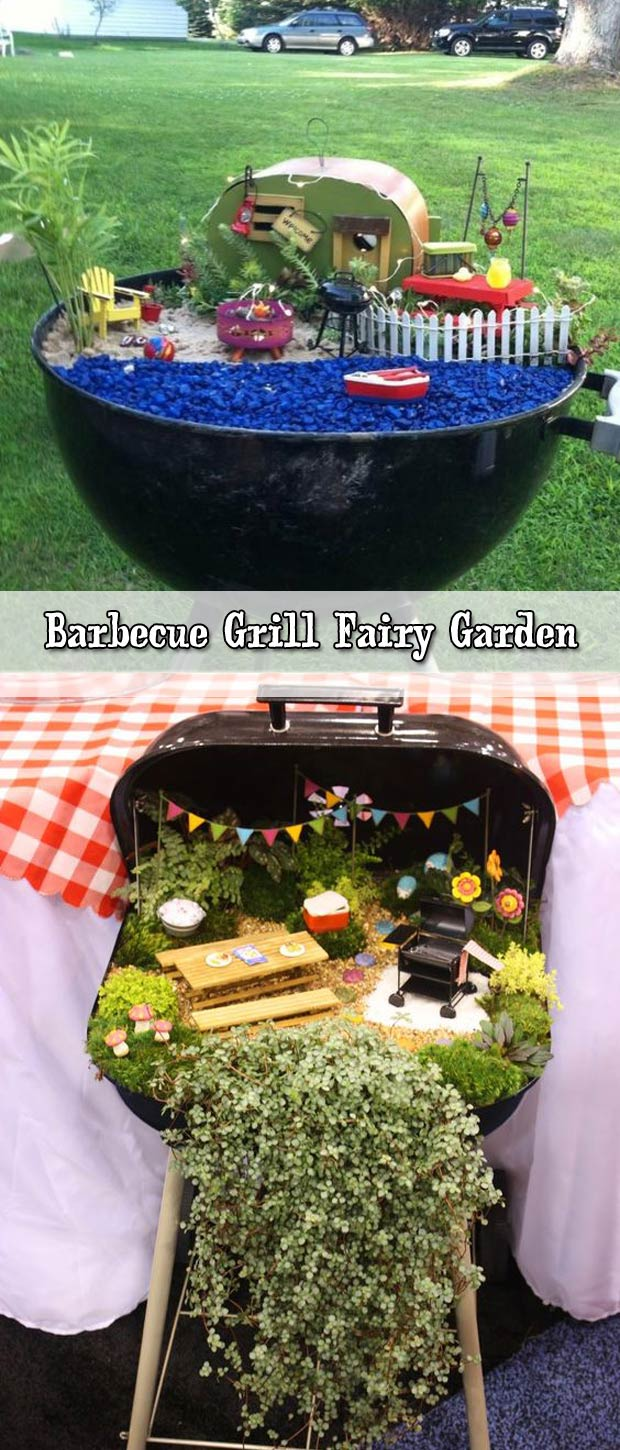 Recycle a broken barbecue grill into a fairy camp garden