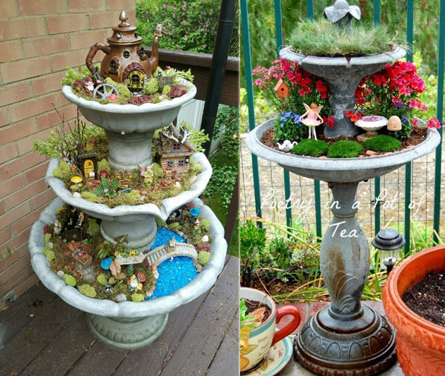Transform a discarded fountain into a fairy garden tower