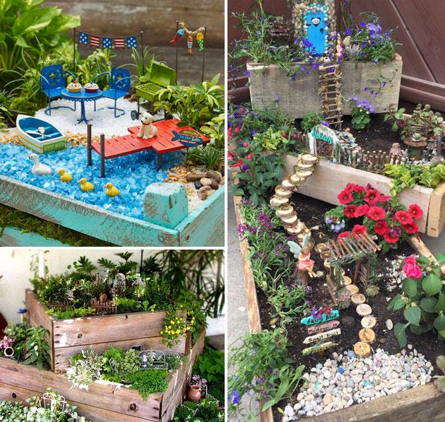 Wood Box Fairy Garden