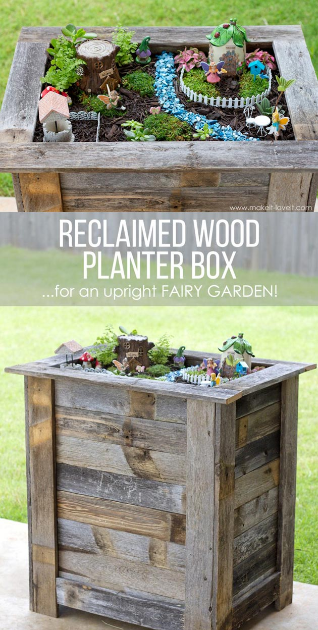 Make a Fairy Garden Inside a Reclaimed Wood Planter