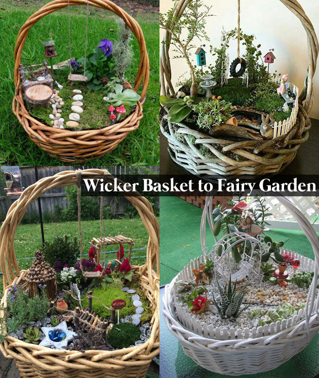 Wicker Basket to Grow Charming Fairy Garden