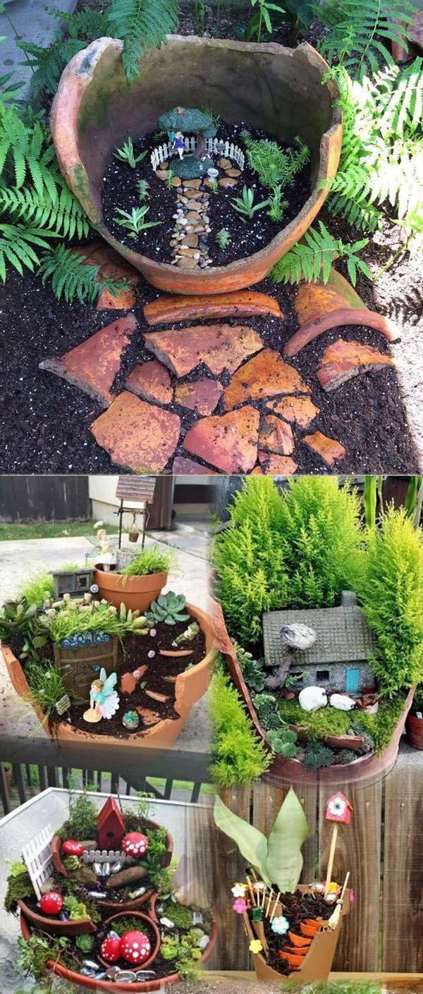 Recycle a Broken Terracotta Pot into a Fairy Garden