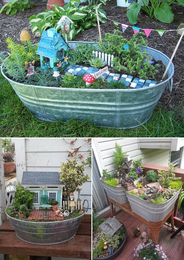 Design your dream fairy garden in a galvanized metal bucket