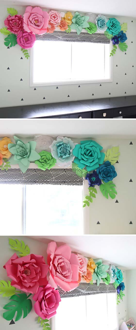 window valance made out of giant paper flowers