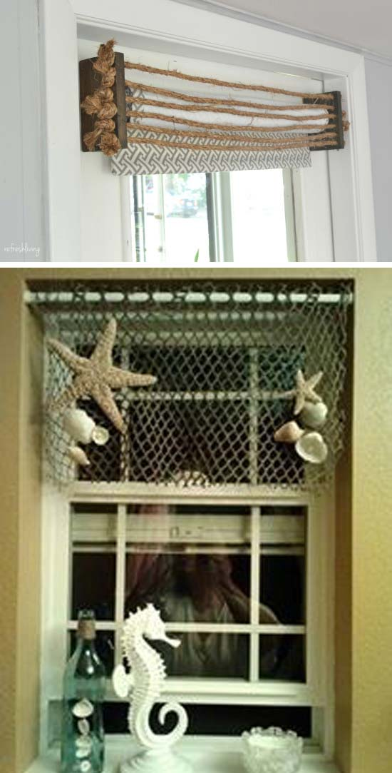 rope or fishing net diy valance