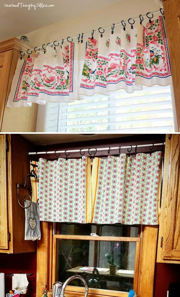 DIY kitchen valance with towels