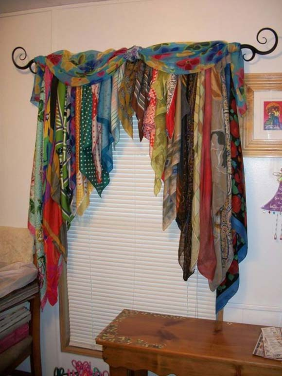 Use old scarves to make a Bohemian curtain
