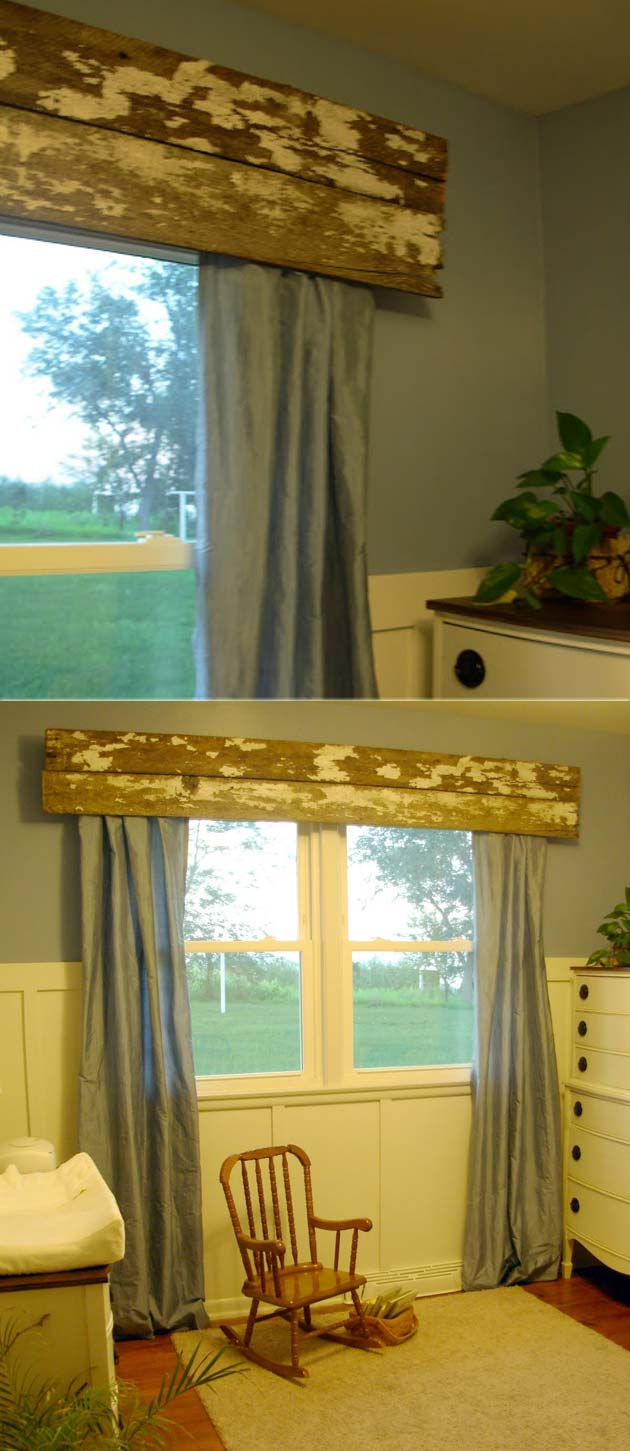 distressed wood valance