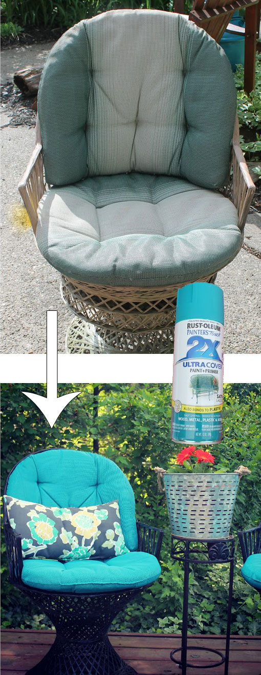 Wicker Patio Chair Set Spray Painted Makeover