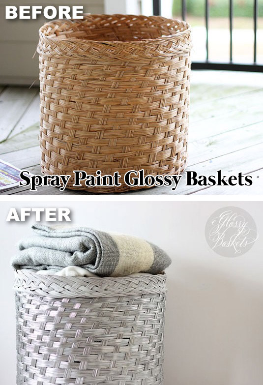 Spray painted glossy baskets