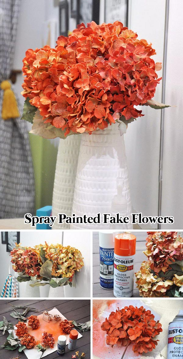 Spray Painted fake flowers