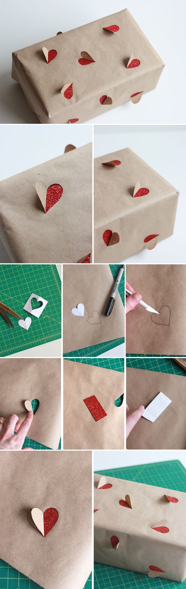 3D heart gift wrapping idea