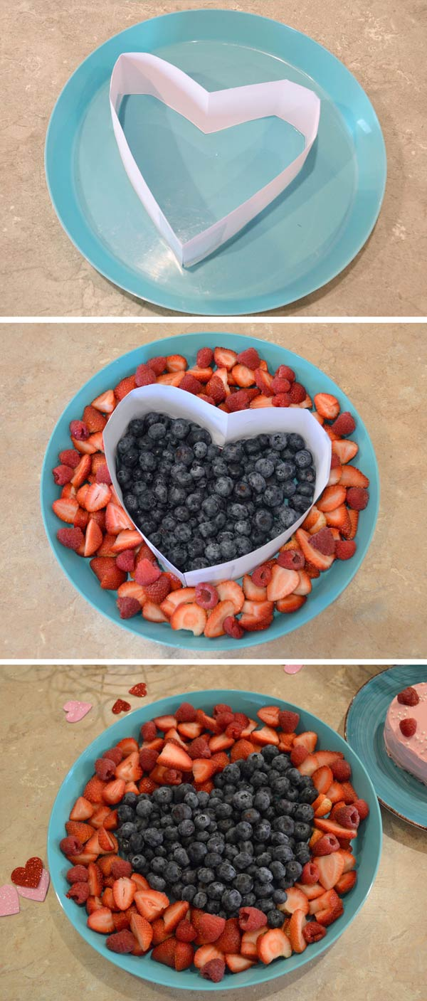 Cute heart-shaped fruit platter