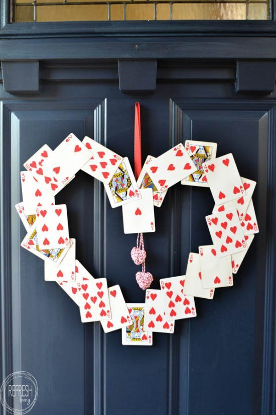 Wreath from old playing cards