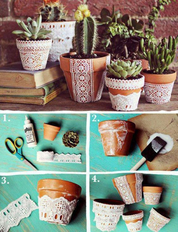 Lace covered flower pot