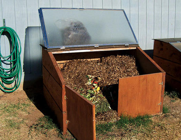 Old Shower Door Turned Into A Compost Bin