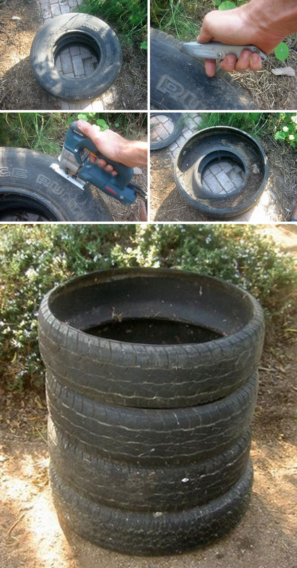 Utilizing old tires as a compost bin