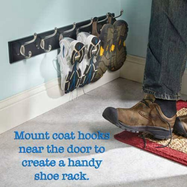 Mount Coat Hooks Near The Door to Create a Handy Shoe Rack