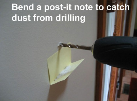 Bend a Post-it Note to Catch Dust from Drilling