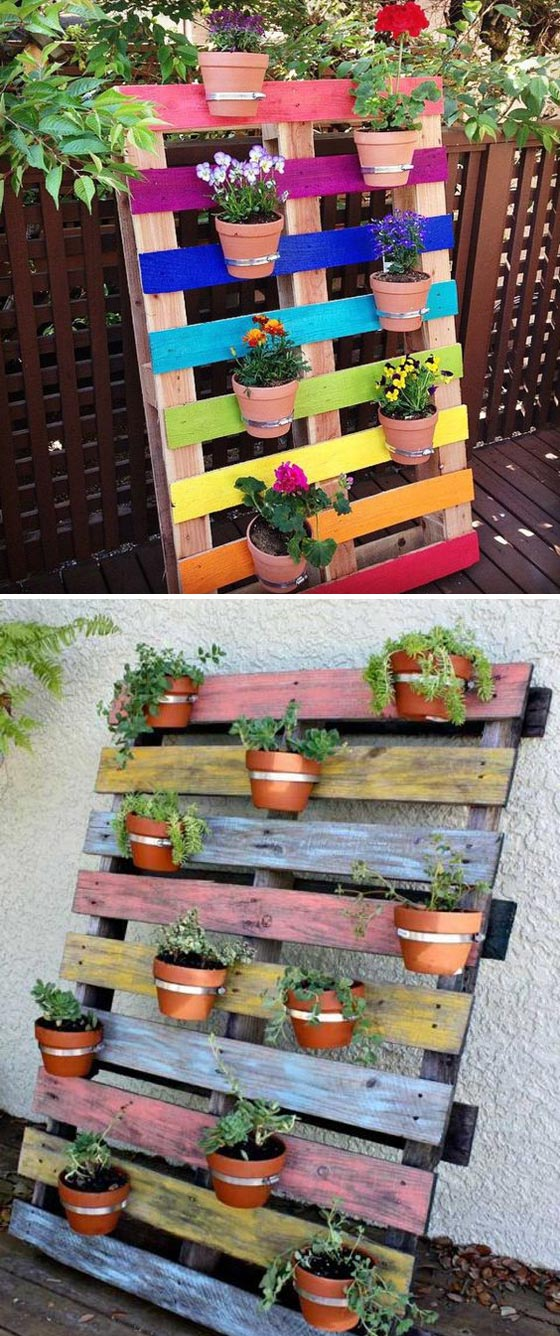 Upcycled Pallet Rainbow Clay Pots Garden