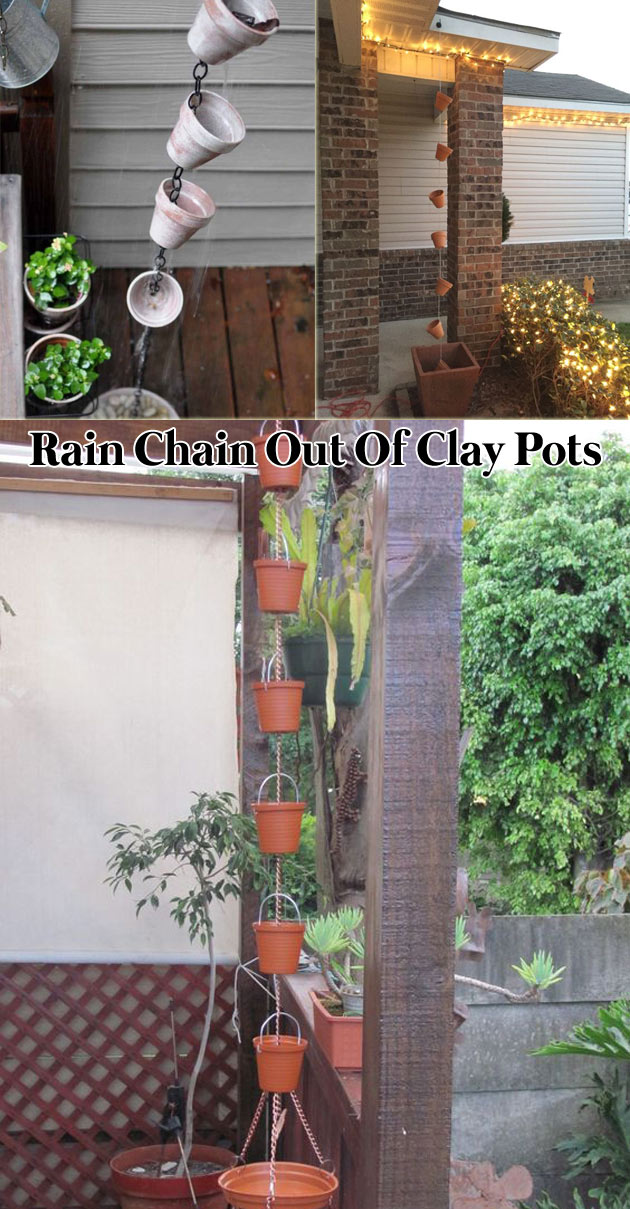 Rain chain out of clay pots and chain