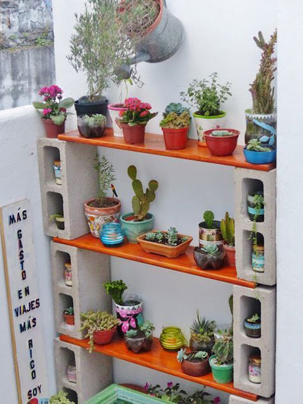 Display Clay Pot Planters on Cinder Block Shelf