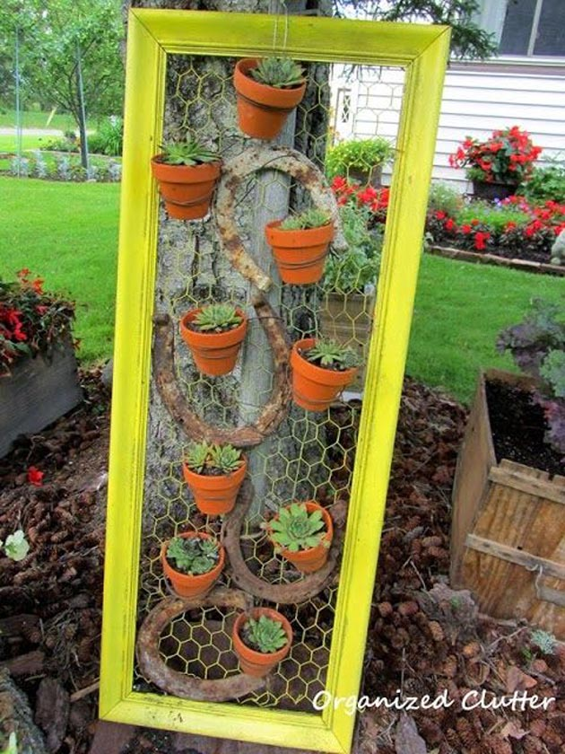 Hanging Clay Pot Planters on Chicken Wire Frame
