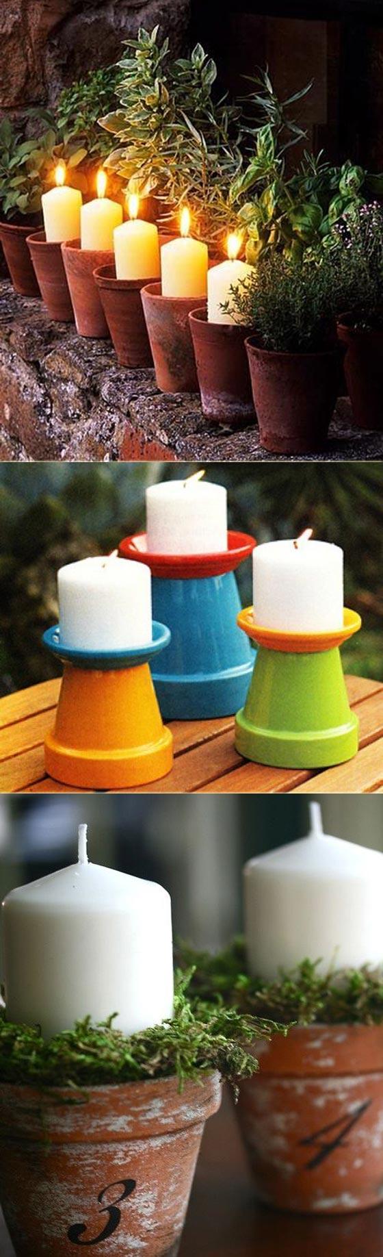 Candles in Little Terracotta Pots