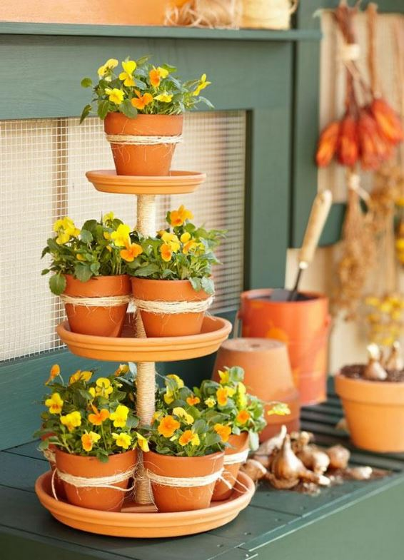 Tiered Planter Plant Stand From Terra Cotta Saucers