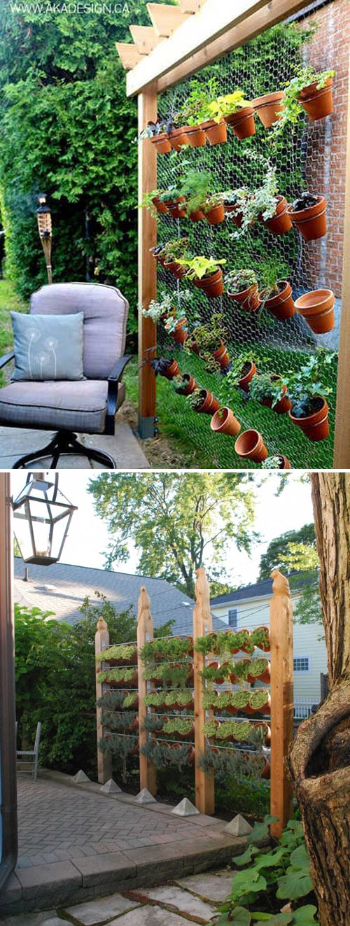 Terracotta Pots Garden Double as a Privacy Screen