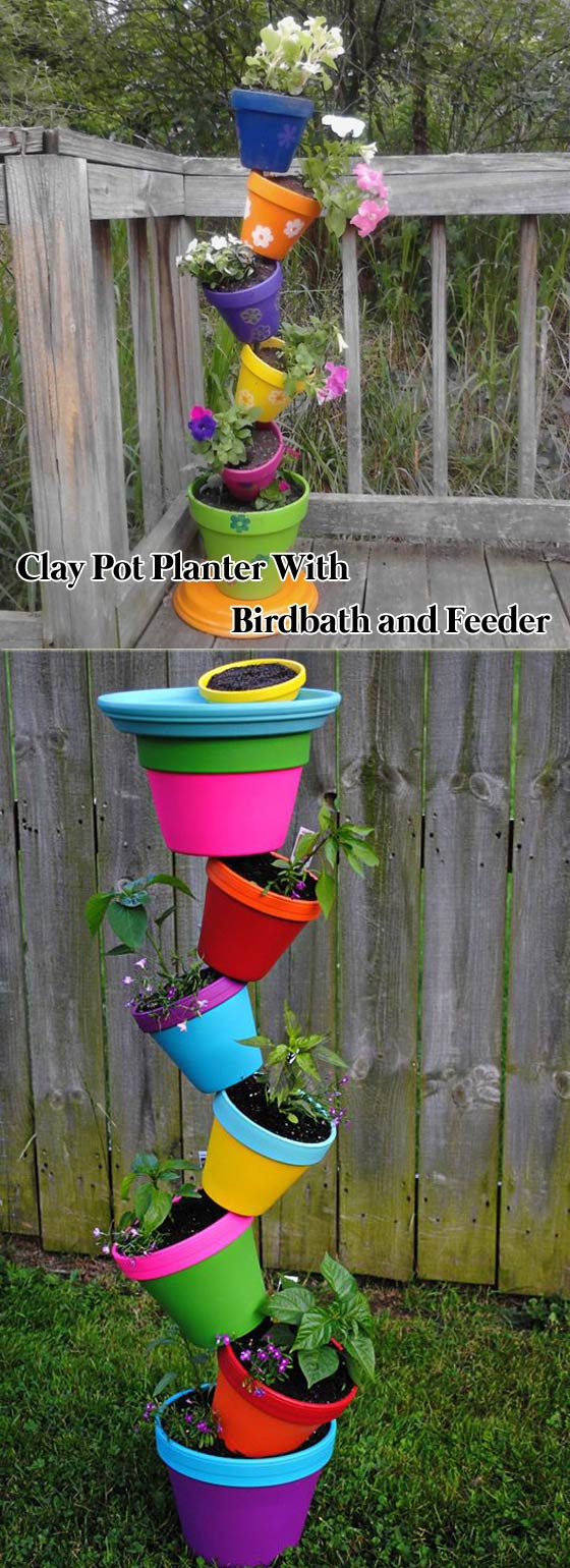 Terracotta Pot Planter with Birdbath and Feeder